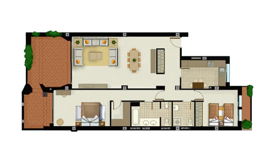 plano apartamento planta primera